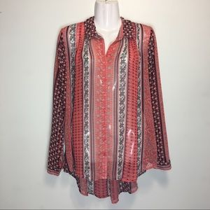 Free People Patterned Long Sleeve Blouse
